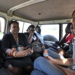 Joe enjoys the ride back to Mbale after building a coop in Tororo.